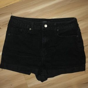 Mid/High Rise Forever 21 Black Jean Shorts